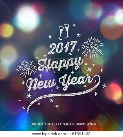 New Year Greeting card, Happy New Year 2017, Handwritten Typography over blurred background