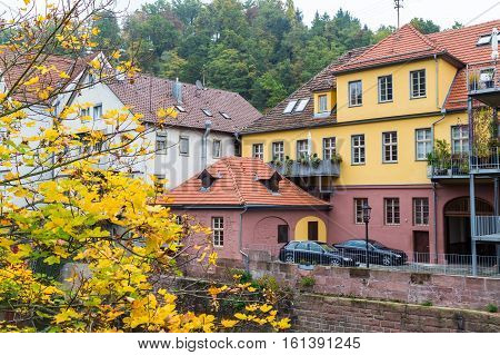 Autumn city landscape in Calw, old German town