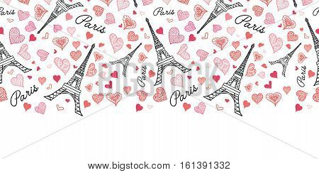 Unique Vector Eifel Tower Paris Seamless Repeat Pattern Horizontal Border Bursting With St Valentines Day Pink Red Hearts Of Love. Perfect for travel themed postcards, greeting cards, wedding invitations.