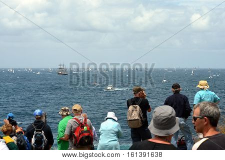 Sydney Australia - December 26 2012. Participants yachts reached the Tasman Sea. Spectators watching the race from South Head. Sydney to Hobart Yacht Race on Boxing Day.