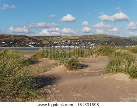 The view towards the delightful small seaside resort of Abedovey on the edge of the Snowdonia National Park from the sand dunes at Ynyslas near Borth Ceredigion Wales.