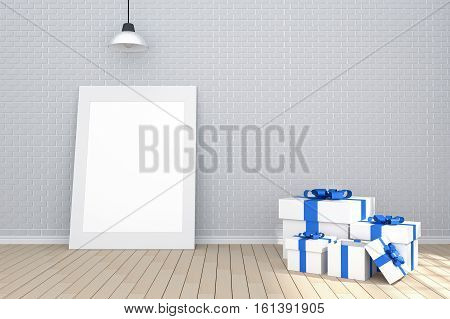 3D Rendering : Illustration Of White Picture Frame In Empty Room.brick Wall And Wooden Floor.space F