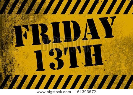 Friday 13Th Sign Yellow With Stripes