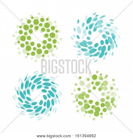 Abstract circle logotype set. Green and blue dotted round isolated chem logo collection. Virus icon. Unusual sun. Flower symbol. Spiral sign.Vector germs illustration
