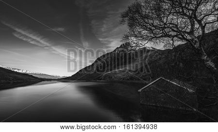 Scenic View over Llyn Ogwen Lake in Snowdonia Black and White