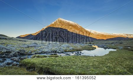 Snow Dusted Summit of Glyderau Mountains in Snowdonia UK