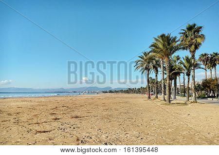 Salou beach. Province of Tarragona in Catalonia. Spain