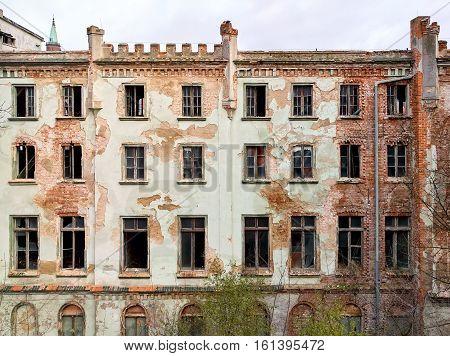 Old broken deserted house. Photo taken in Poland