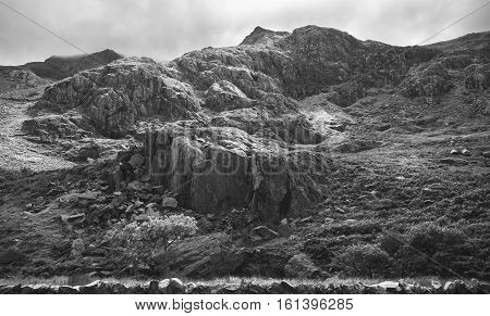 Rocky Slopes of North Wales UK in Greyscale