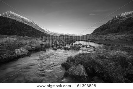 Black and White Landscape of Snowdonia at the Early Winter