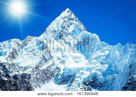 Mountain peak Everest. Highest mountain in the world. National Park Nepal.