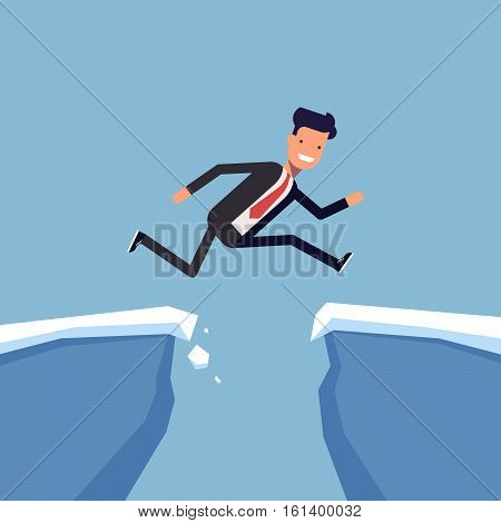 Businessman or manager jumping over a precipice. Overcoming obstacles. Man in business suit is moving towards success through difficulties. Vector, illustration EPS10