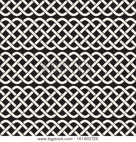 Interlaced Lines Celtic Ethnic Ornament. Abstract Geometric Background Design. Vector Seamless Black and White Pattern