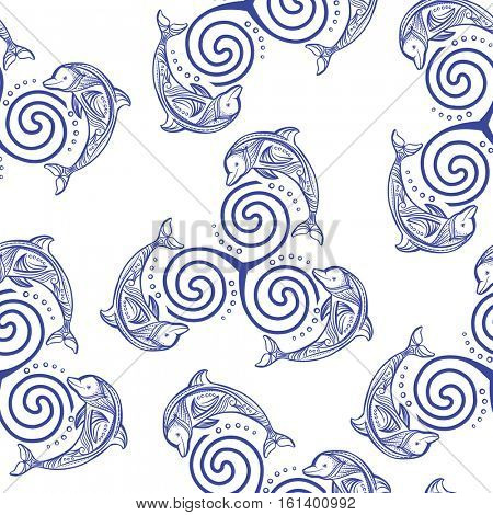 Seamless pattern with dolphins in wave