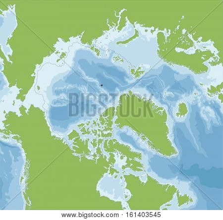 The Arctic Ocean located in the Northern Hemisphere and mostly in the Arctic north polar region.