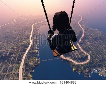 A child on a swing over the city..,3d render