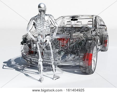 Model cars and human skeleton on a white background.3d render