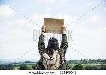 Woman Rear View Top Mountain Carefree Cloudscape Copy Space Concept