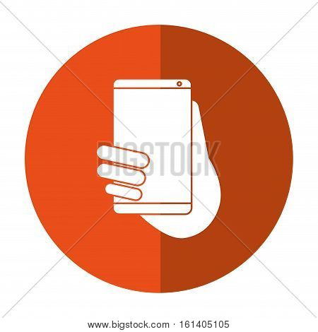 hand holds smartphone sms chat technology shadow vector illustration eps 10