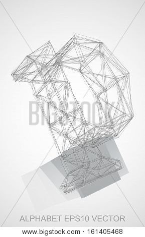 Abstract illustration of a Pencil sketched P with Reflection. Hand drawn 3D P for your design. EPS 10 vector illustration.