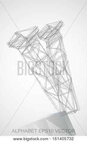 Abstract illustration of a Pencil sketched V with Reflection. Hand drawn 3D V for your design. EPS 10 vector illustration.