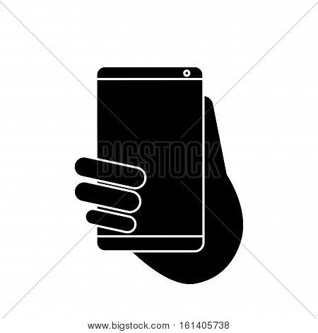 hand holds smartphone sms chat technology pictogram vector illustration eps 10