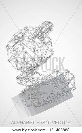 Abstract illustration of a Pencil sketched G with Reflection. Hand drawn 3D G for your design. EPS 10 vector illustration.