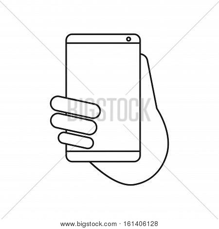 hand holds smartphone sms chat technology outline vector illustration eps 10