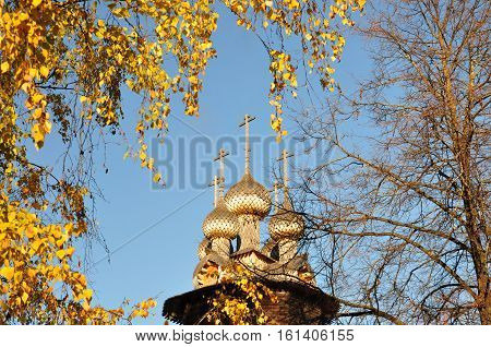 Wooden dome of the church among the birch twigs in the fall.