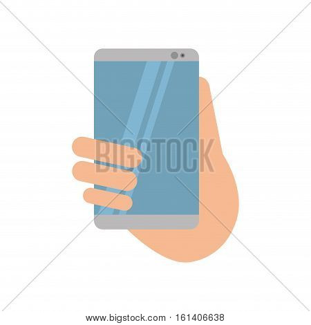 hand holds smartphone sms chat technology vector illustration eps 10