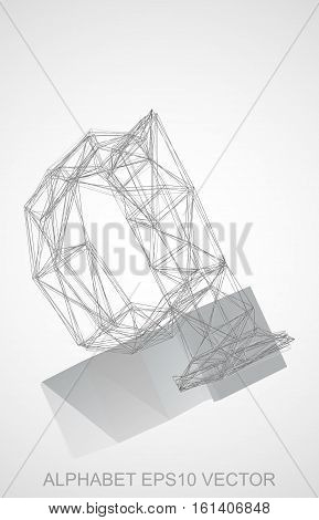 Abstract illustration of a Pencil sketched Q with Reflection. Hand drawn 3D Q for your design. EPS 10 vector illustration.