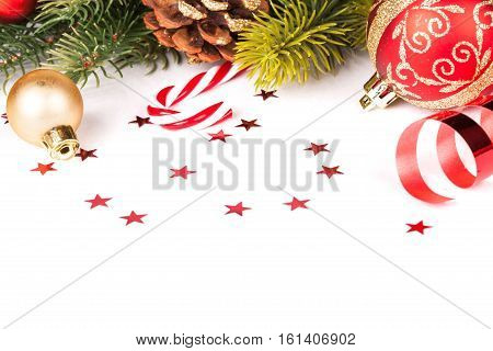 christmas bow and decoration on white background