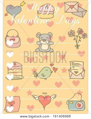 Illustration of greeting card valentine vector collection stock