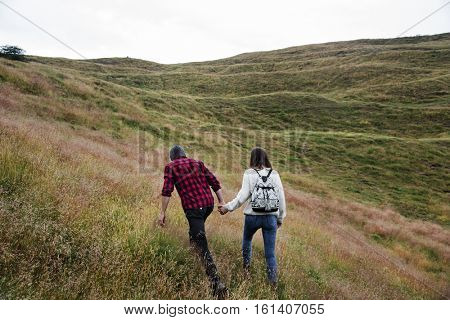 People Rear View Top Mountain Carefree Togetherness Concept