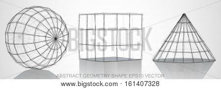 Set of Abstract geometry shape: Ink sketched Sphere, Cube, Cone with Reflection. Hand drawn 3D polygonal objects. EPS 10, vector illustration.