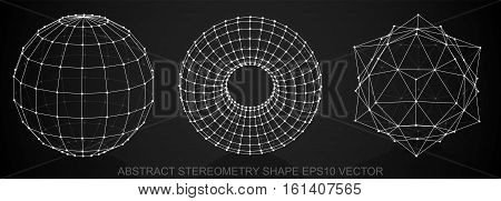 Set of Abstract stereometry shape: White sketched Sphere, Torus, Octahedron with Reflection. Hand drawn 3D polygonal objects. EPS 10, vector illustration.
