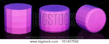Set of Abstract geometry shape: low poly Pink Cylinder. 3D polygonal objects, EPS 10, vector illustration.