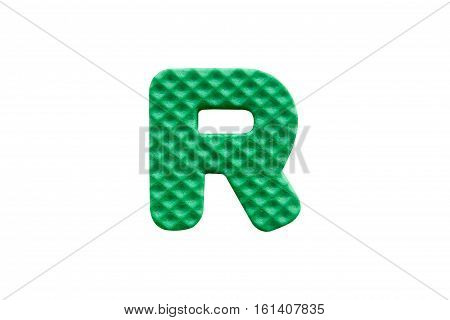 Green Alphabet R Made From Eva Foam On White Background