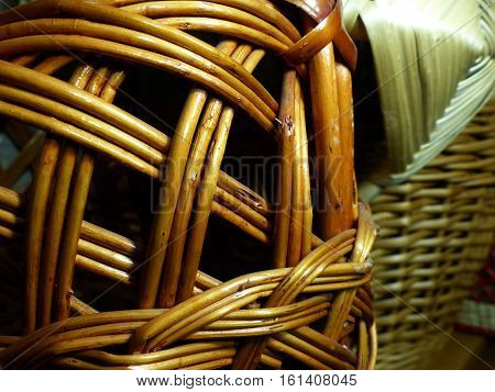 Woven baskets from vines . Willow (lat. Salix). Close-up. Russian folk crafts