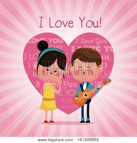 couple loving serenading i love you pink heart background vector illustration eps 10