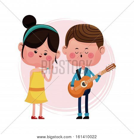couple loving serenading with guitar vector illustration eps 10
