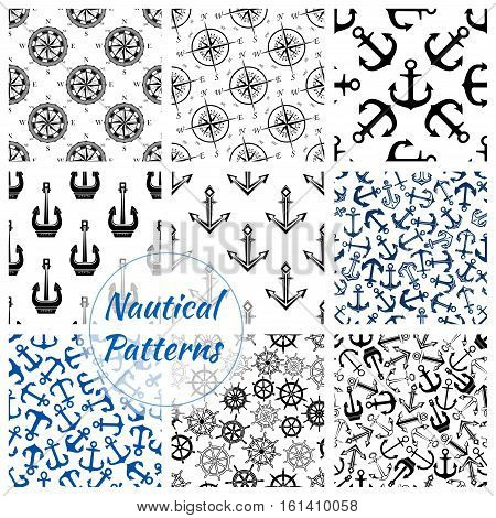 Marine anchor, helm, compass rose seamless pattern background. Nautical anchor, ship wheel and vintage navy rose of the winds. Sea travel, adventure or marine trip design