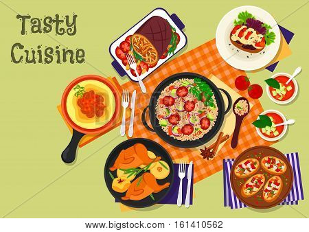 Vegetable and meat dinner dishes icon of baked pork with vegetable, beef stew with polenta, spanish tomato soup, italian pepper bruschetta, vegetable couscous salad, stuffed eggplant, fried quail