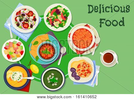 Greek cuisine soup and salad dishes icon. Vegetable and grapefruit salads with cheese, lemon rice soup, baked eggplant salad, pilaf, cucumber soup, bean warm salad, fruit dessert lokum