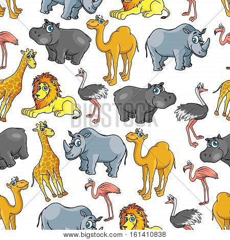 African and jungle cartoon safari animals pattern. Vector seamless pattern of cute lion, camel, ostrich, flamingo, rhinoceros, monkey, camel, flamingo, ostrich hippo giraffe