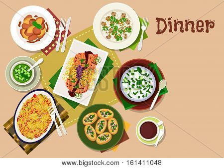 Festive dinner menu icon of chicken liver with apple and ginger sauce, mushroom rice, vegetable salad with salmon, pumpkin bruschetta, yogurt rice soup, cucumber soup, bulgur casserole with cheese
