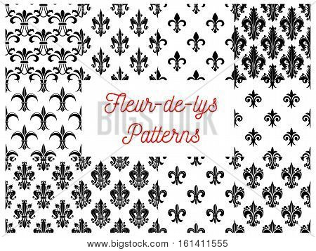 Victorian fleur-de-lis black and white seamless patterns set with stylized floral ornaments of lily flowers, buds and curly leaves