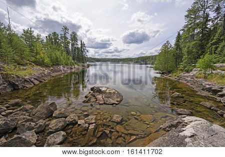 Calm Bay on a Anubis Lake in Quetico Provincial Park in Ontario