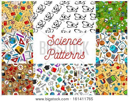 Science seamless patterns. Vector pattern of scientifical objects and symbols, school and university supplies and stationery, atom, formula, microscope, telescope, dna, chemicals, substance, gene, molecule, globe proton magnet calculator