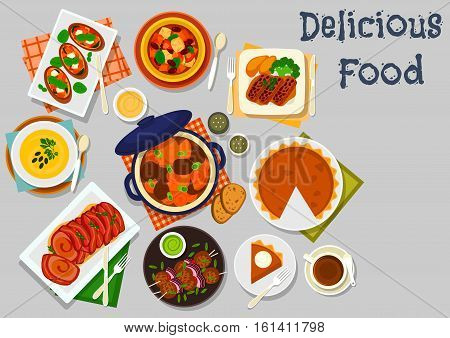 Pumpkin dishes for healthy lunch icon with pumpkin cream soup, baked pork in bacon, vegetable pork stew, vegetarian stew with bean, lamb meatball, pumpkin pie, beef roll, pumpkin cheese bruschetta